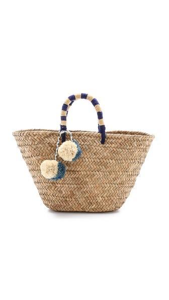 Kayu Pom Pom Straw Tote - Blue/natural