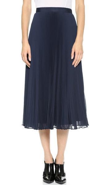Alice + Olivia Pleated Midi Skirt - Navy