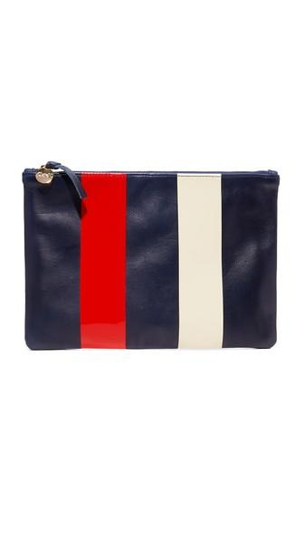 Clare V. Super Flat Clutch - Navy/red/cream