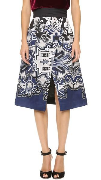 Tibi Tapestry Wrap Skirt - Blue Multi