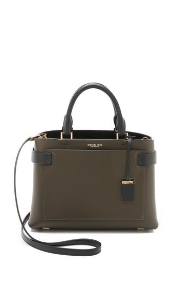 Michael Kors Collection Audrey Medium Satchel - Olive/black