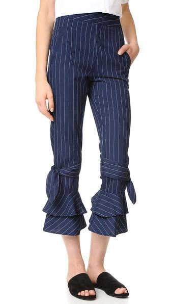 Nicholas N Nicholas Pinstripe Ruffle Hem Pants