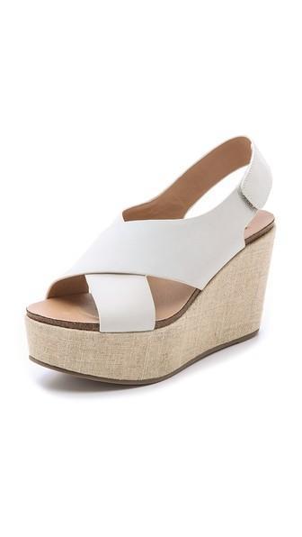 Steven Genesis Wedge Sandals - White