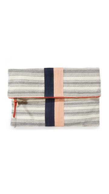 Clare V. Fold Over Clutch - Bit/navy/blush