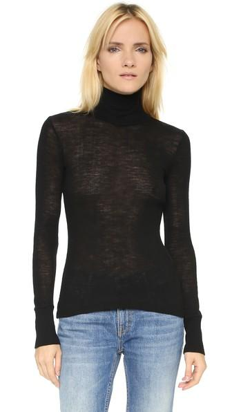 T By Alexander Wang Wooly Ribbed Fitted Turtleneck - Black