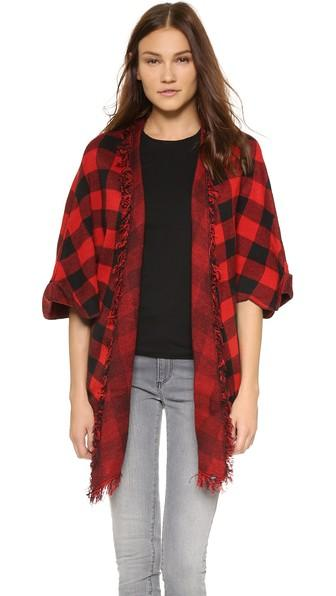 Plush Plaid Poncho - Black/red
