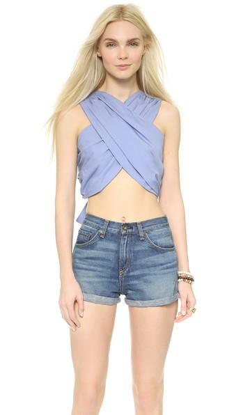A.c.e. Erin Cross Front Crop Top - French Blue
