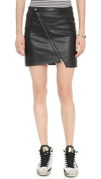 Bb Dakota Tudar Asymmetrical Zip Pencil Skirt - Black
