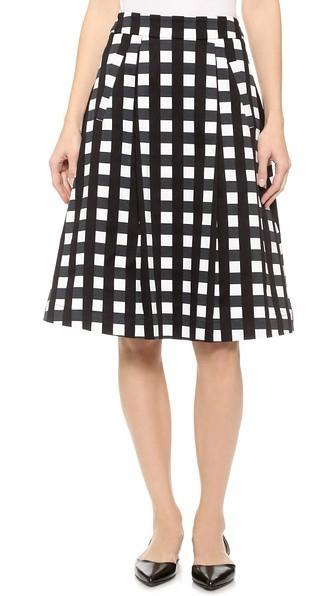 Marissa Webb Ella Check Skirt - Checkmate Black