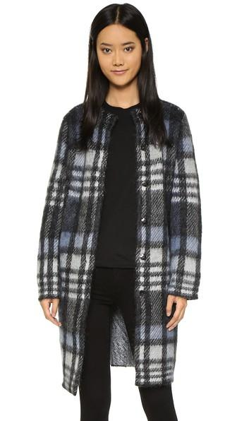 Tory Burch Alpaca Plaid Jacket - Black Brushed Plaid