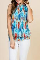 Feather-print-mock-neck Pleated-sleeveless-top