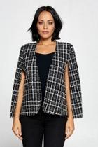 Plaid Cape Blazer