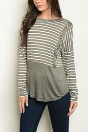 Stripe & Button Top