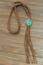 Natural-turquoise Pendant-long Suede-necklace
