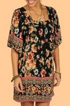 Floral Pleated Tunic