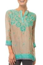 Silk Embroidered Tunic Top