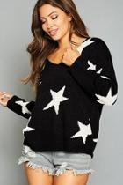 Star Printed V Neck Sweater
