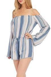 Blue Off The Shoulder Romper