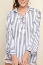 Striped Drawstring Top