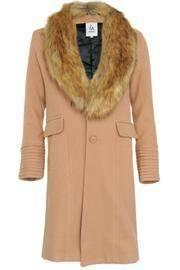 Faux Fur Camel Coat