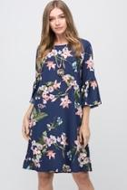 Navy-floral Shift Dress