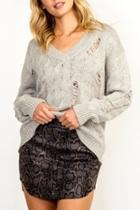 Distressed Cable-knit Sweater