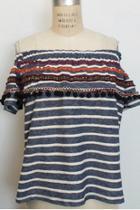 Stripe Off Shoulder Knit Top