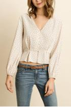 Polka Dot Pleated Blouse