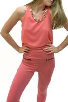 Coral Chain-collar Top