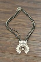 Squash-blossom Naja-natural-white-turquoise Necklace
