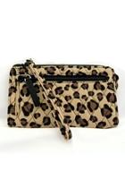 Leopard Front-zip Wristlet