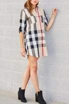 Plaid Buttonfront Dress/tunic