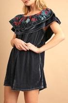 Velvet-embroidered Grey Dress