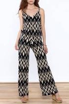 Black Print Sleeveless Jumpsuit