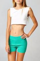 Green Crochet Shorts