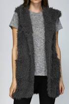 Hooded Shaggy Vest