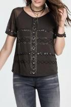 Charcoal Beaded Top
