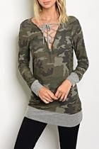 Camo Laceup Top