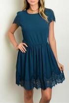 Teal Lace Trim Dress