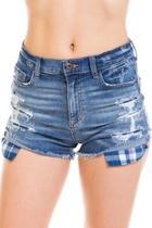 Checkered-pocket Denim Shorts