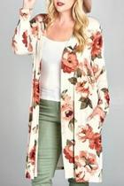 Plus Floral Cardigan