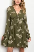 Olive Floral Sling Dress
