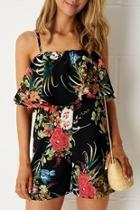 Black-floral Layer Playsuit