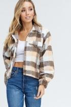 Plaid Shearling Coat