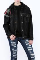 Floral Embroidered Hooded Jacket