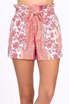 Orange Printed Shorts
