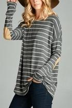 Charcoal Striped Top