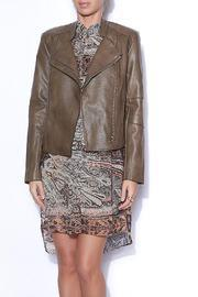 Olivaceous Cropped Leather Jacket