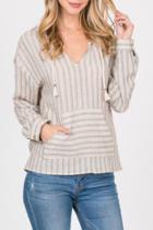 Striped Pocket Hoodie