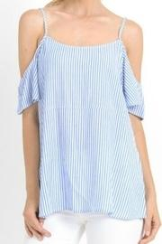 Pinstripped Cold-shoulders Top